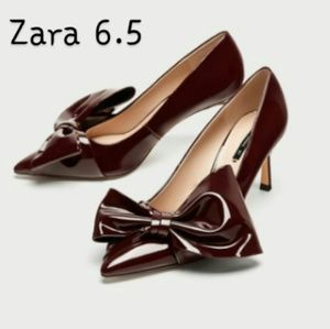 ZARA burgundy high heel bow detail size 6.5